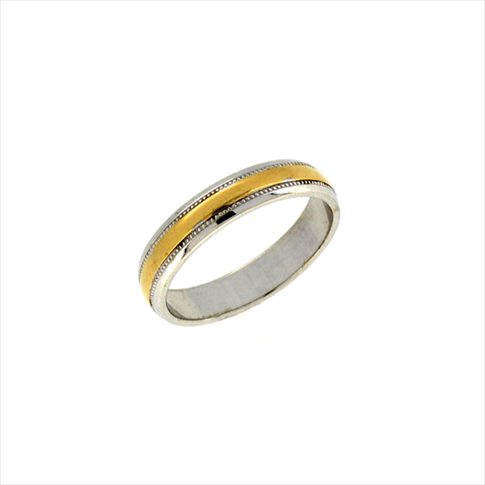 9ct Two Colour Gold Inlaid Ring