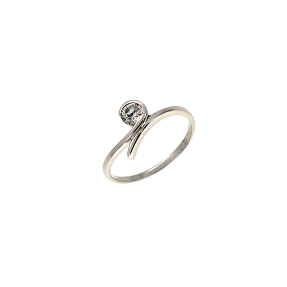 083b664b85919a 9ct White Gold Cubic Zirconia Twist Ring