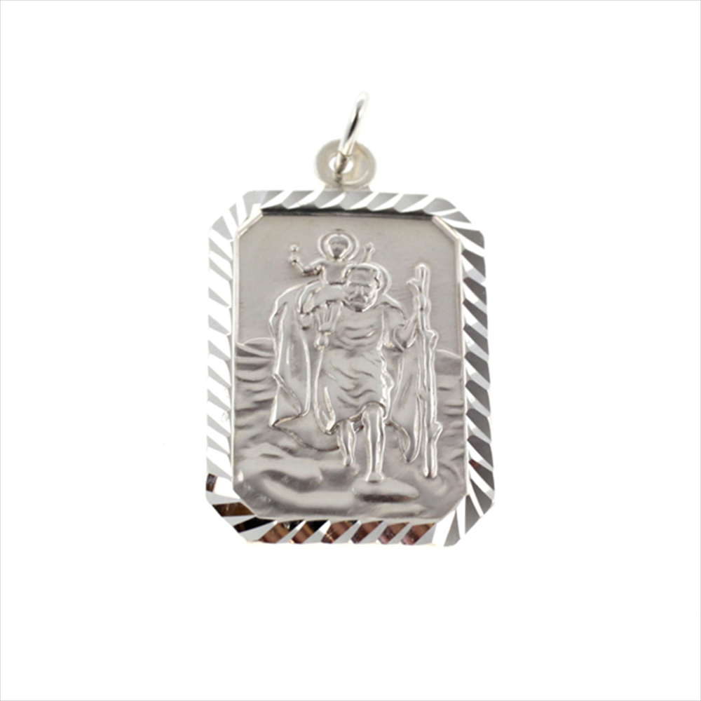 Silver St. Christopher Rectangle 25mm x 18mm