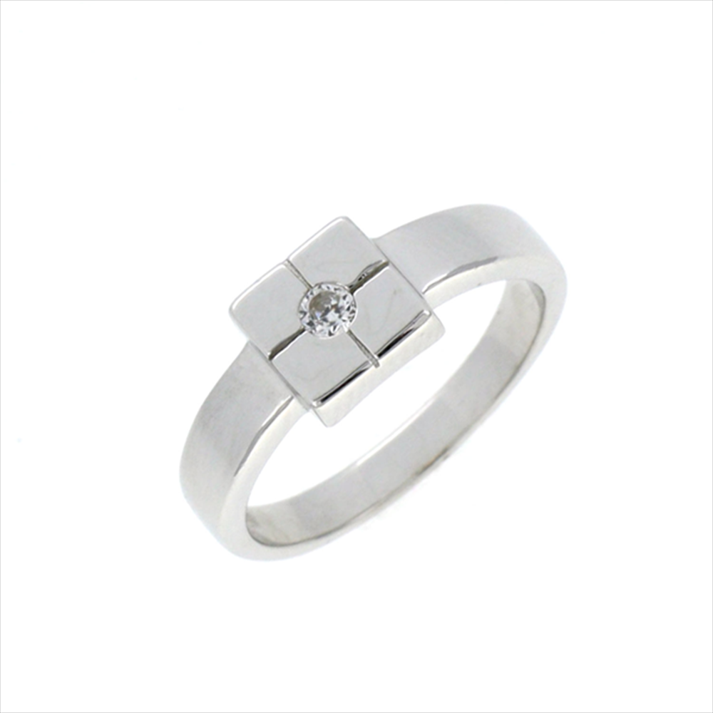 Silver Square Top with Round Cubic Circonia Ring. Weight 3.4g