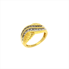14ct Yellow Gold Second-hand Diamond Wave Ring. Weight 4.9g
