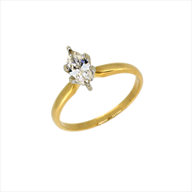 14ct Yellow Gold Second-hand Marquise Diamond Ring. Weight 2.4g