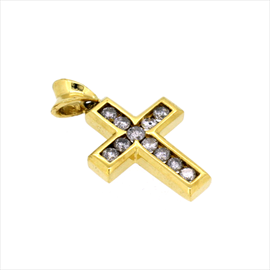 18ct Diamond Set Cross 4.3g