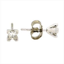 18ct White Gold Diamond Single Stud Earrings