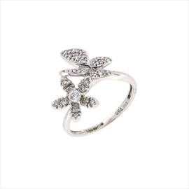 18ct White Gold Double Flower Diamond Ring