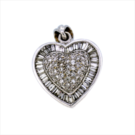 18ct White Gold Second-hand Diamond Heart Pendant. Weight 8.5g