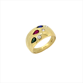 18ct Yellow Gold Second-hand Multi Stone Ring. Weight 4.7g