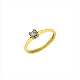18ct Yellow Gold Second-hand Single Stone Diamond Ring. Weight 2.1g