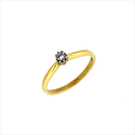 18ct Yellow Gold Second-hand Single Stone Diamond Ring. Weight 2.8g