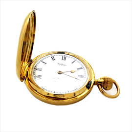 18ct Yellow Gold Second-hand Waltham Hunter Pocket Watch