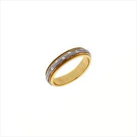 9ct Two Colour Gold Inlaid Wedding Ring