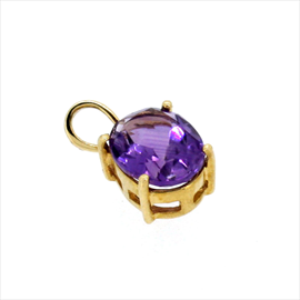 9ct Yellow Gold Amethyst Single Stone Pendant