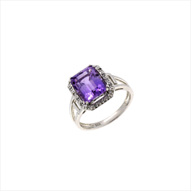 9ct White Gold Amethyst and Diamond Square Ring