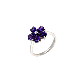 9ct White Gold Amethyst Flower Cluster Ring