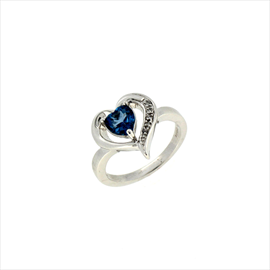 9ct White Gold Blue Topaz and Diamond Heart Shaped Ring