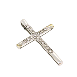 9ct White Gold Diamond Cross 1.1g