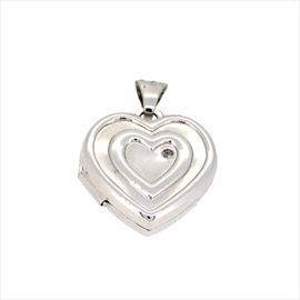 9ct White Gold Diamond Set Heart Locket