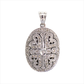 9ct White Gold Oval Diamond Locket