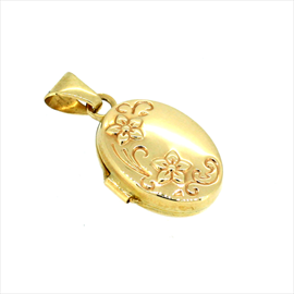 9ct Yellow Gold 13mm Oval Flower Locket