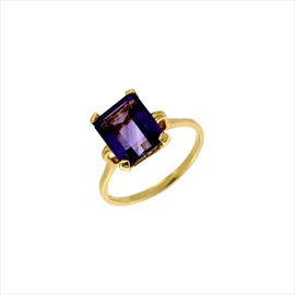 9ct Yellow Gold Amethyst Octagonal Ring