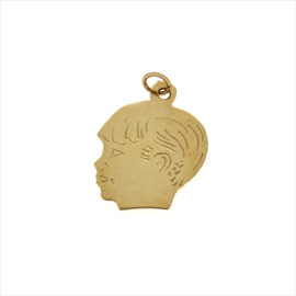 9ct Yellow Gold Boys Head Pendant
