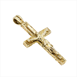 9ct Yellow Gold Pattern Crucifix