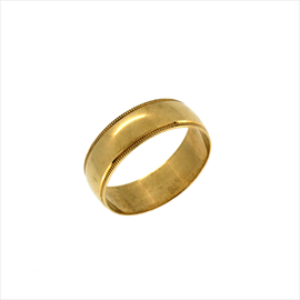 9ct Yellow Gold Patterned Edge Wedding Ring