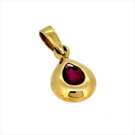 9ct Yellow Gold Pear Shaped Ruby Pendant