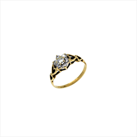 9ct Yellow Gold Second-hand Diamond Cluster Ring. Weight 1.4