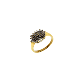9ct Yellow Gold Second-hand Diamond Cluster Ring. Weight 2.7g