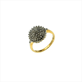 9ct Yellow Gold Second-hand Diamond Cluster Ring. Weight 2.8g