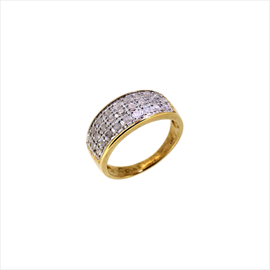 9ct Yellow Gold Second-hand Diamond Cluster Ring. Weight 2.9g
