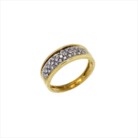 9ct Yellow Gold Second-hand Diamond Cluster Ring. Weight 3.4g