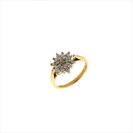 9ct Yellow Gold Second-hand Diamond Cluster Ring. Weight 3g