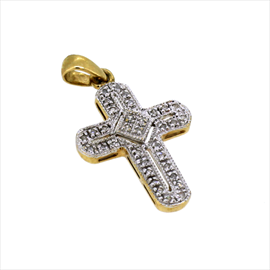9ct Yellow Gold Second-hand Diamond Set Cross. Weight 1.9g