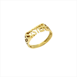 9ct Yellow Gold Second-hand Sister Ring. Weight 1.4g