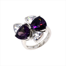 Silver 2 Triangle Amethyst and 3 Rub Over Cubic Zirconia Ring