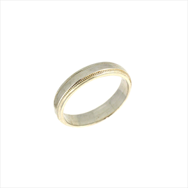 Silver 4mm Patterned Court Wedding Ring