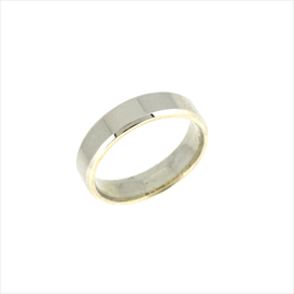 Silver 5mm Flat Bevelled Court Wedding Ring