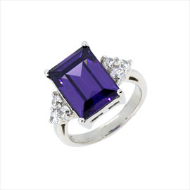 Silver Amethyst and White Cubic Zirconia Ring