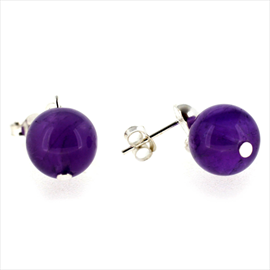 Silver Amethyst Ball Drop Earrings