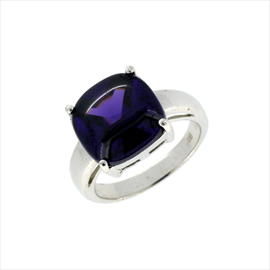 Silver Amethyst Square Ring