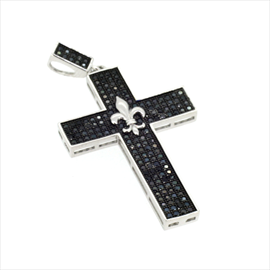 Silver Black Stone Set Cross
