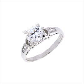 Silver Cubic Zirconia Solitaire with Cubic Zirconia Shoulders Ring.
