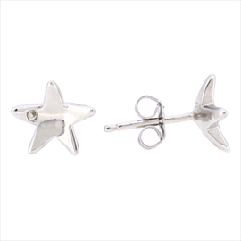 Silver Cubic Zirconia Star Shaped Stud Earrings