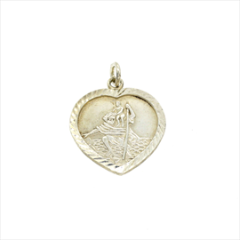 Silver Heart Shaped St. Christopher Medal