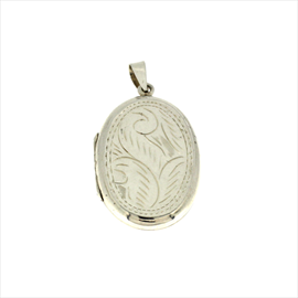 Silver Oval Flat Engraved Locket