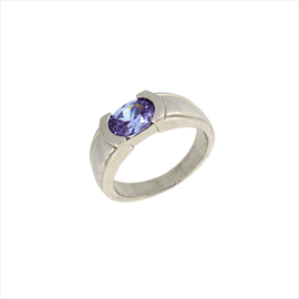 Silver Oval Lavender Cubic Zirconia Ring
