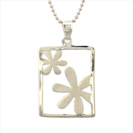 Silver Rectangle Flower Pendant and Chain