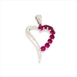 Silver Red Cubic Zirconia Open Heart Pendant